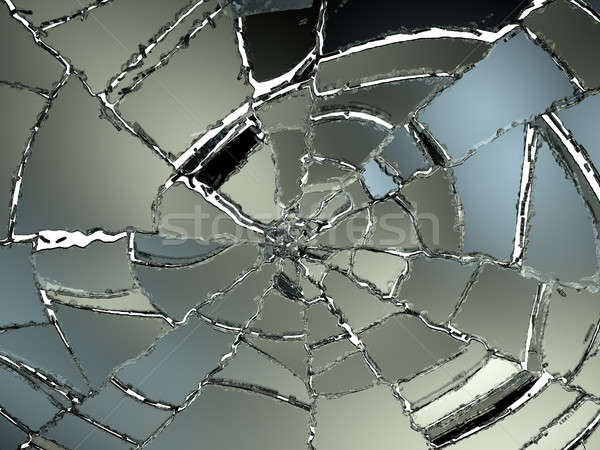 Cracked and Splitted glass on white Stock photo © Arsgera