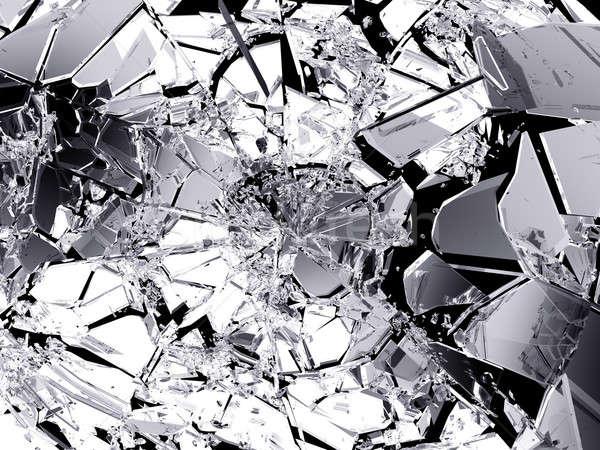 Muitos peças vidro quebrado isolado preto grande Foto stock © Arsgera