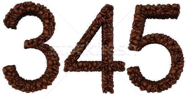 Coffee font 3 4 5 numerals isolated Stock photo © Arsgera