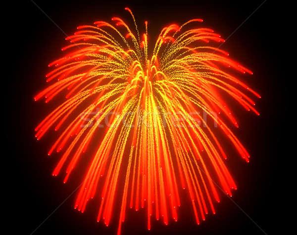 Stock photo: Orange fireworks explosions