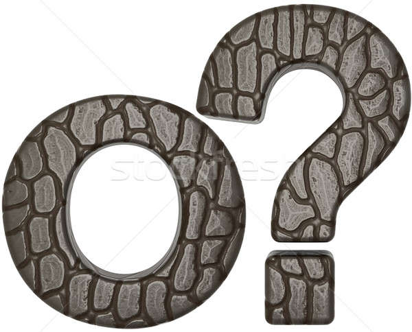 Alligator skin font query mark and O letter Stock photo © Arsgera