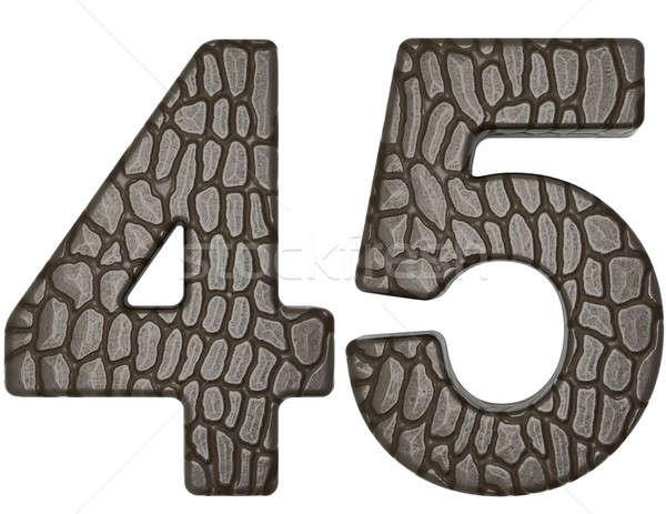 Alligator Haut Schriftart Ziffern isoliert weiß Stock foto © Arsgera