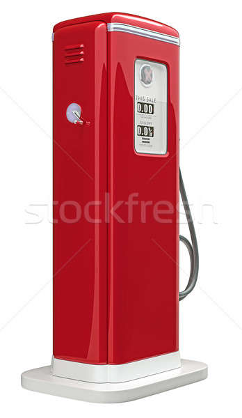 Piros benzinkút pumpa izolált fehér fenék oldalnézet Stock fotó © Arsgera