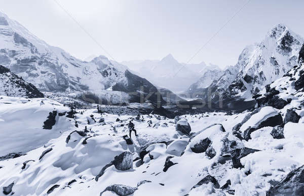 Mountaineer climbing in the Himalaya mountains Stock photo © Arsgera