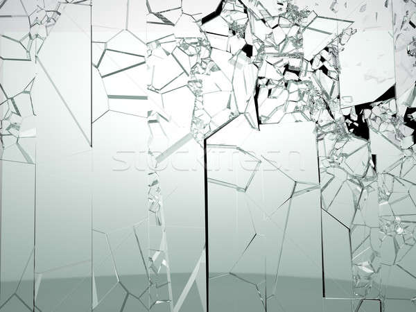 Destructed or broken glass isolated on black Stock photo © Arsgera