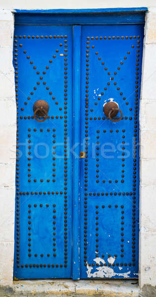 Foto stock: Azul · porta · ornamento · Tunísia · grande