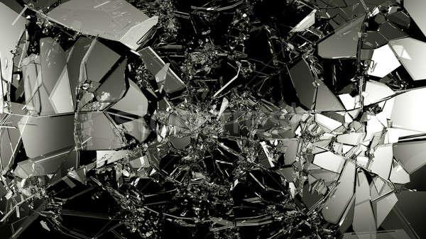 Piezas agrietado vidrio negro grande Foto stock © Arsgera
