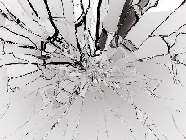 Destructed or Shattered white glass isolated Stock photo © Arsgera