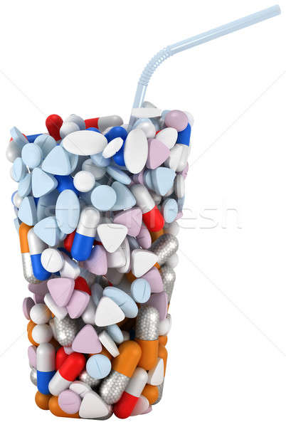 Glass shape assembled of drugs and pills Stock photo © Arsgera