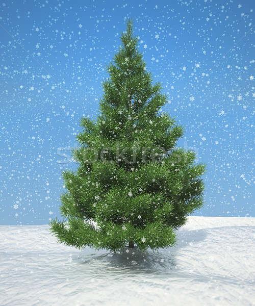 Karácsony hóesés kék ég hasznos új év képeslapok Stock fotó © Arsgera