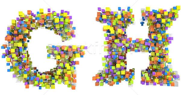 Stock fotó: Absztrakt · kockák · betűtípus · levelek · izolált · fehér
