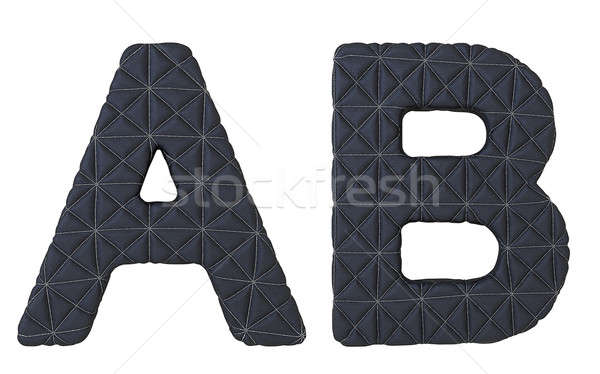 Luxury black stitched leather font A B letters Stock photo © Arsgera