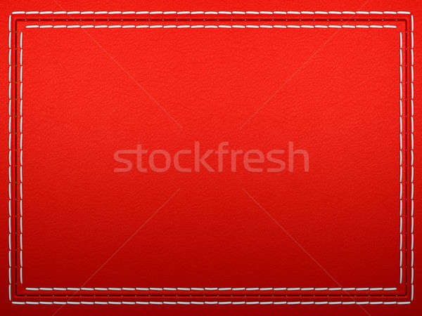 Stitched frame on Red leather Stock photo © Arsgera