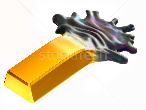 Expensive oil: Gold bar changing into crude Stock photo © Arsgera