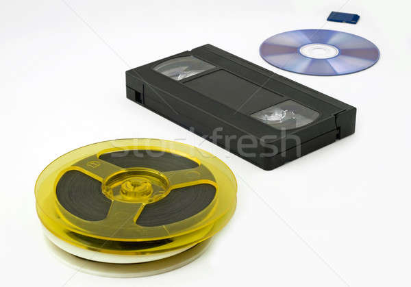 évolution stockage de données médias bobine vidéo cassette Photo stock © Arsgera