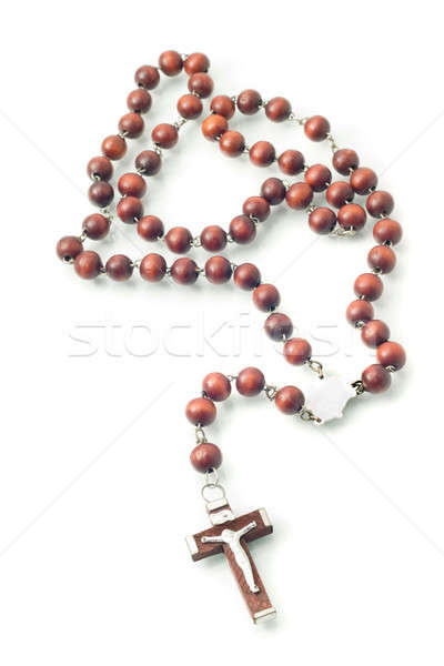 Brown Wooden beads isolated over white Stock photo © Arsgera