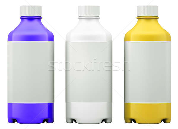 Three colorful  bottles for chemicals or drugs isolated  Stock photo © Arsgera