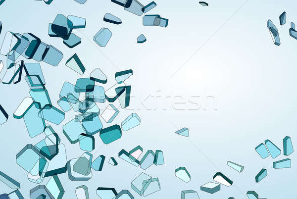 Shattered blue glass Pieces and gradient Stock photo © Arsgera