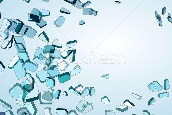 Kék üveg darabok gradiens absztrakt terv Stock fotó © Arsgera