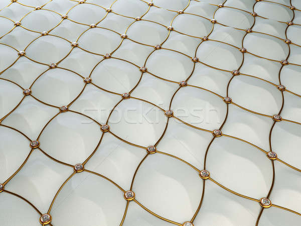 Grey luxury leather pattern with diamonds and golden wire Stock photo © Arsgera