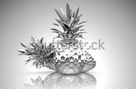 Chromed ananas with reflection isolated Stock photo © Arsgera