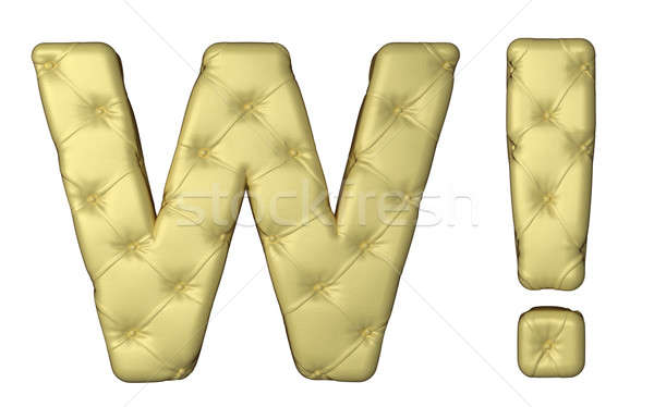 Lusso beige pelle carattere lettera wow Foto d'archivio © Arsgera
