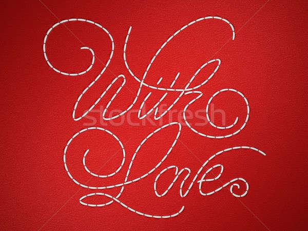 Sevmek nakış sözler kırmızı deri dizayn Stok fotoğraf © Arsgera