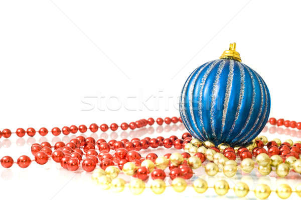 Foto d'archivio: Natale · decorazione · colorato · perline · strisce · blu