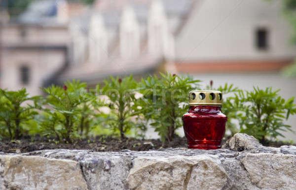 Parterre de fleurs rue fleur ville pétrolières rouge Photo stock © Arsgera