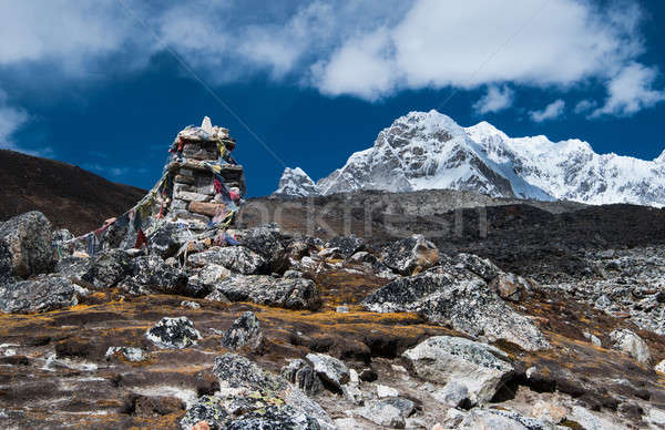Tombstones or chorten for climber who died in Himalayas Stock photo © Arsgera