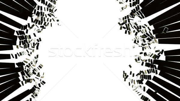 Pieces of broken or Shattered glass on white Stock photo © Arsgera