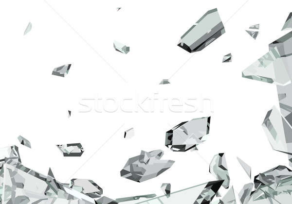 Pieces of demolished or Shattered glass isolated  Stock photo © Arsgera