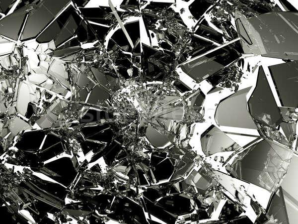 Sok darabok törött üveg izolált fehér nagy Stock fotó © Arsgera