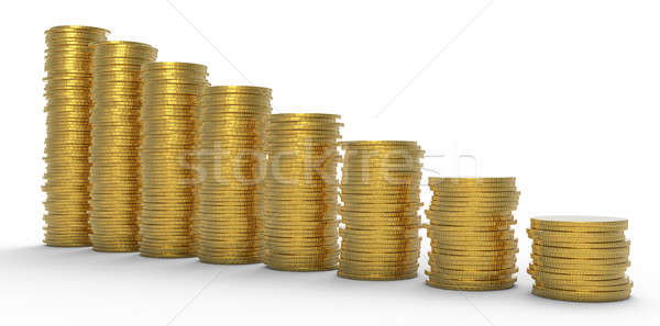 Growth or recession: golden coins stacks Stock photo © Arsgera