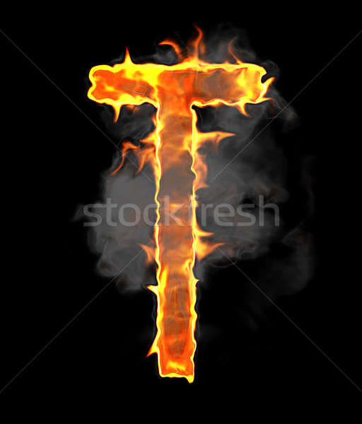 Burning and flame font T letter over black  Stock photo © Arsgera