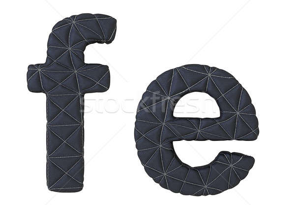 Lowercase stitched leather font f e letters Stock photo © Arsgera