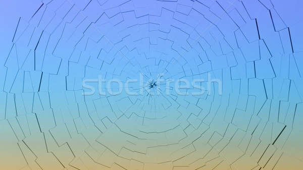 Bullet hole: broken gradient color glass pattern Stock photo © Arsgera