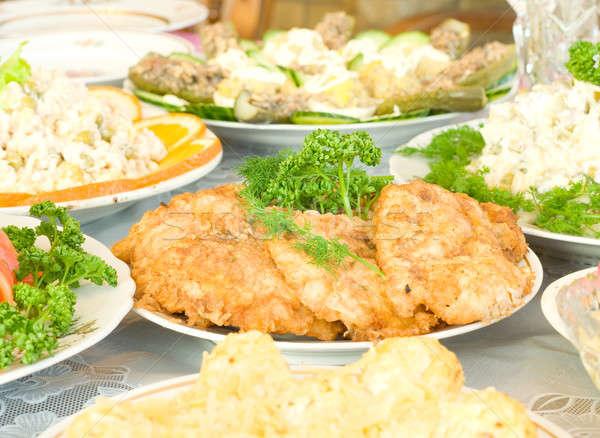 Smakelijk banket restaurant tabel plaat vlees Stockfoto © Arsgera
