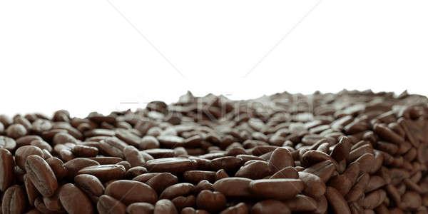 Pörkölt kávé magvak közelkép fehér művészi Stock fotó © Arsgera