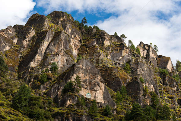 Himalaya Landscape: rocks, trees and Buddhist symbols Stock photo © Arsgera