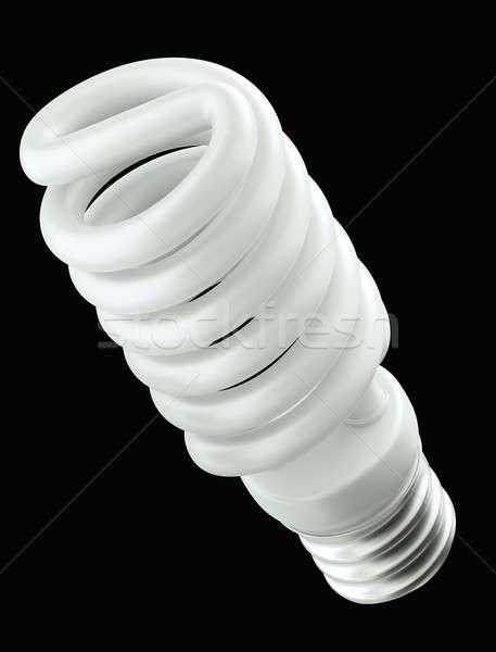 Energie-efficiëntie spiraal gloeilamp geïsoleerd zwarte groene Stockfoto © Arsgera