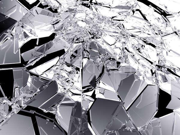 割れたガラス ピース 孤立した 黒 ストックフォト © Arsgera