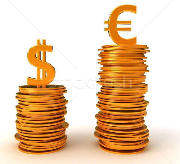 Euro valuta előny dollár fehér fém Stock fotó © Arsgera