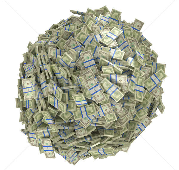 Photo stock: Sphère · forme · dollar · isolé · blanche · affaires