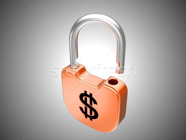 Unlocked lock: US dollar security Stock photo © Arsgera