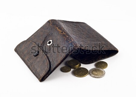 Opened frayed leather wallet with one dollar bond and change Stock photo © Arsgera