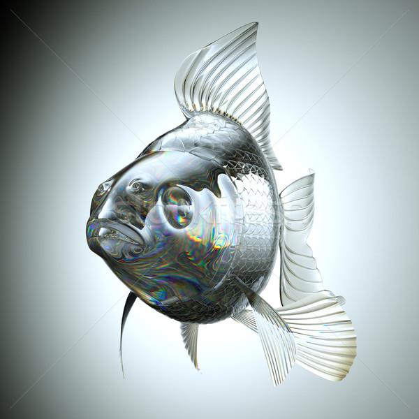 Vorderseite Ansicht Glas Goldfisch Gradienten Fisch Stock foto © Arsgera