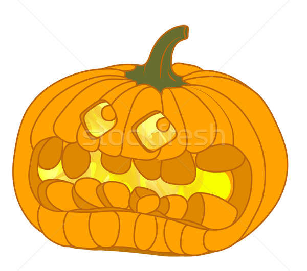 Scary Halloween pumpkin isolated on white Stock photo © Arsgera