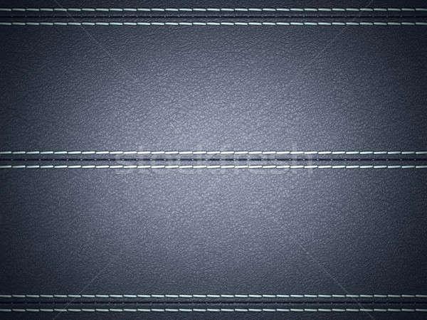 Dark Blue horizontal stitched leather background Stock photo © Arsgera
