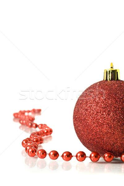 Foto stock: Navidad · rojo · decoración · pelota · vidrio · fondo